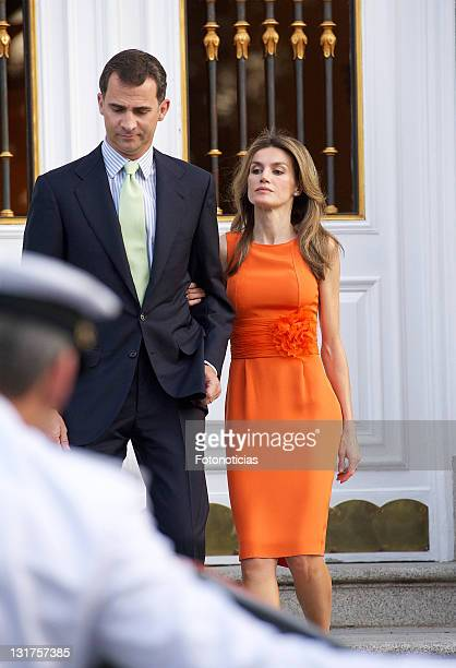 Prince Felipe of Spain and Princess Letizia of Spain receive Syrian Arab Republic President Bashar alAssad and his wife Asma alAssad at Zarzuela...