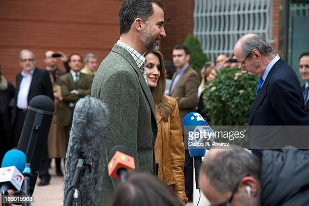Prince Felipe of Spain and Princess Letizia of Spain talk to media after visiting King Juan Carlos of Spain at La Milagrosa Hospital on March 3 2013...