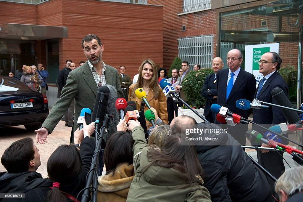 Prince Felipe of Spain and Princess Letizia of Spain talk to media after visiting King Juan Carlos of Spain at La Milagrosa Hospital on March 3, 2013 in Madrid, Spain. King Juan Carlos of Spain goes under surgery for a lower back disc hernia at La Milagrosa Hospital on March 3, 2013 in Madrid, Spain. He had hip surgery last November. The King has had several other health issues in the past two years, including knee surgery and the removal of a benign lung tumor.