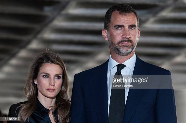 Prince Felipe of Spain and Princess Letizia of Spain visit Clinico Hospital after a train crash killed 78 on July 26 2013 in Santiago de Compostela...