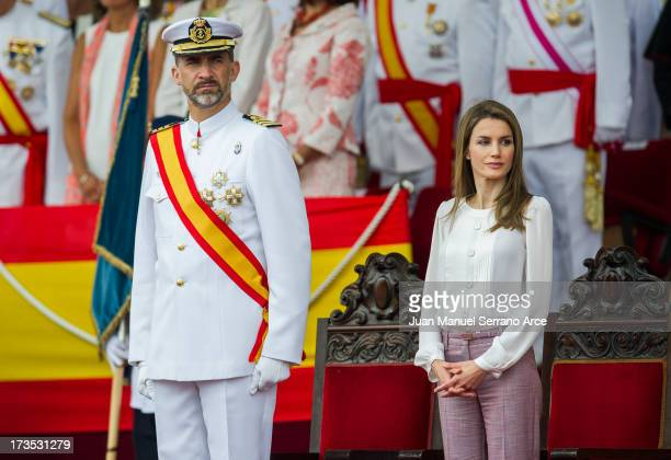 Prince Felipe of Spain and Princess Letizia of Spain visit Marin Navy Academy to attend the graduation ceremony on July 16 2013 in Pontevedra Spain
