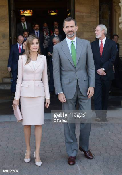 Prince Felipe of Spain and Princess Letizia of Spain visit Stanford University on November 14 2013 in Palo Alto California