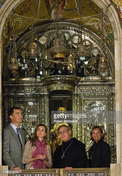 Prince Felipe of Spain and Princess Letizia of Spain visit the Montserrat abbey on July 14 2011 in Barcelona Spain
