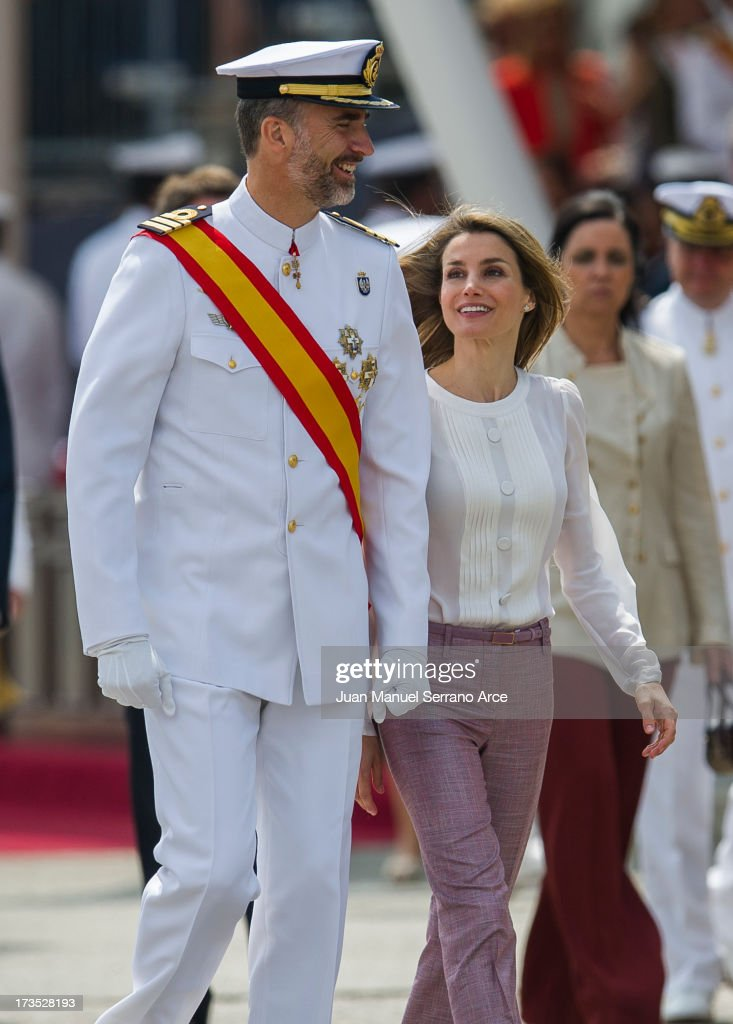 Prince Felipe of Spain (L) and Princess Letizia of Spain visit the Marine Navy Academy to attend a graduation ceremony on July 16, 2013 in Pontevedra, Spain.