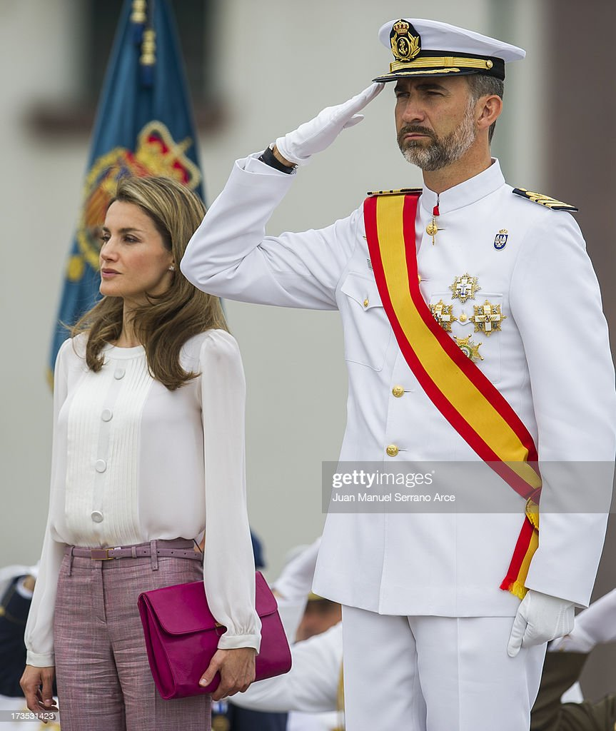 Prince Felipe of Spain (R) and Princess Letizia of Spain visit the Marine Navy Academy to attend a graduation ceremony on July 16, 2013 in Pontevedra, Spain.