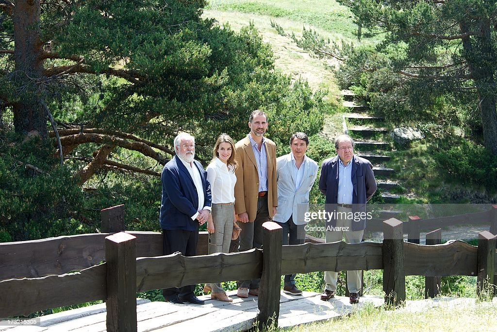 Prince Felipe of Spain (C) and Princess Letizia of Spain (2L) visit the new National Park of Sierra de Guadarrama on July 10, 2013 in Rascafria, near of Madrid, Spain.