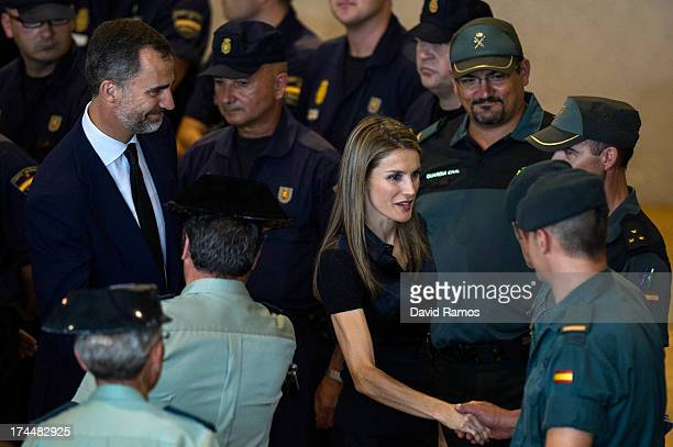 Prince Felipe of Spain and Princess Letizia of Spain visit the Emergency staff members after a train crash killed 78 on July 26 2013 in Santiago de...