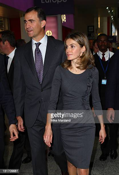 Prince Felipe of Spain and Princess Letizia of Spain Visit The World Travel Show at the ExCel exhibition centre on November 7 2011 in London England