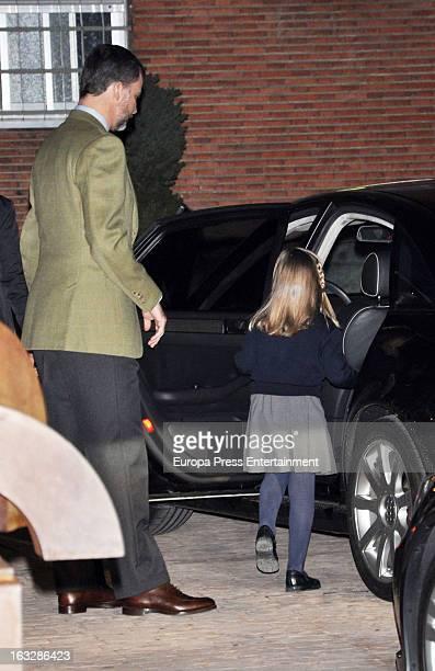 Prince Felipe of Spain and Princess Sofia visit King Juan Carlos of Spain at La Milagrosa Hospital on March 6 2013 in Madrid Spain King Juan Carlos...