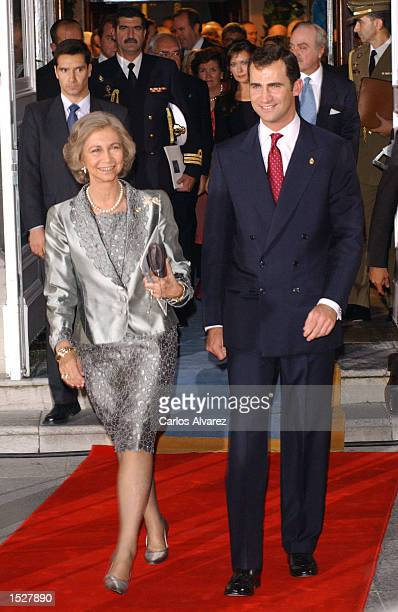 Prince Felipe of Spain and Queen Sofia attend the Prince of Asturias Award ceremony at 'Campoamor' Theatre October 25 2002 in Oviedo Spain