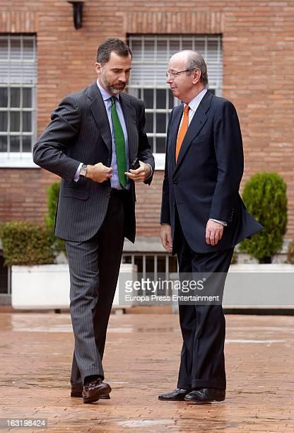 Prince Felipe of Spain and Rafael Spottorno visit King Juan Carlos of Spain at La Milagrosa Hospital on March 5 2013 in Madrid Spain King Juan Carlos...