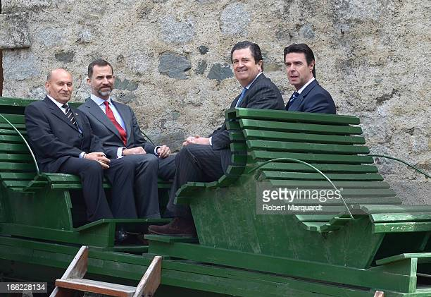 Prince Felipe of Spain and Spanish Minister of Industry Jose Manuel Soria visit Catalonian hydroelectricity stations on April 10 2013 in Lleida Spain