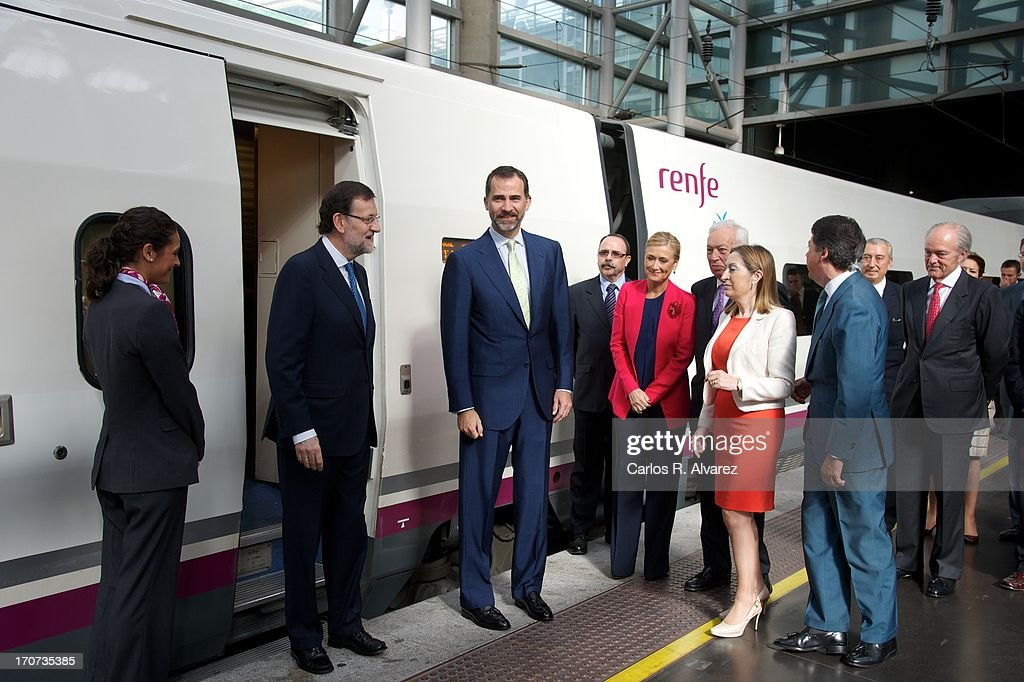Prince Felipe of Spain (C) and Spanish Prime Minister Mariano Rajoy (2nd L) attend the official inauguration of the new Alta Velocidad Espanola (AVE) high speed Madrid to Alicante rail link at Atocha AVE station on June 17, 2013 in Madrid, Spain.