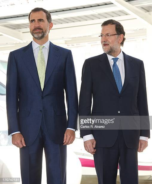 Prince Felipe of Spain and Spanish Prime Minister Mariano Rajoy attend the official inauguration of the new Alta Velocidad Espanola high speed Madrid...