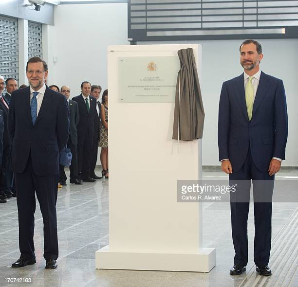 Prince Felipe of Spain and Spanish Prime Minister Mariano Rajoy officially inaugurate the new Alta Velocidad Espanola high speed Madrid to Alicante...