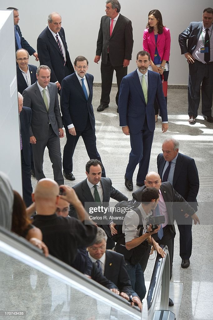 Prince Felipe of Spain (centre R) and Spanish Prime Minister Mariano Rajoy (C) attend the official inauguration of the new Alta Velocidad Espanola (AVE) high speed Madrid to Alicante rail link at Villena AVE station on June 17, 2013 in Villena, Alicante, Spain.