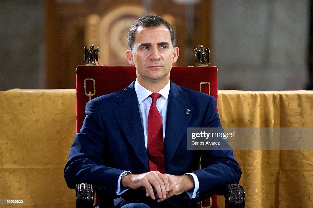 Prince Felipe of Spain appears for the first time since the announcement of King Juan Carlos of Spain abdication as they attend the 'Prince de Viana' award 2014 at the San Salvador de Leyre Monastery on June 4, 2014 in Navarra, Spain.