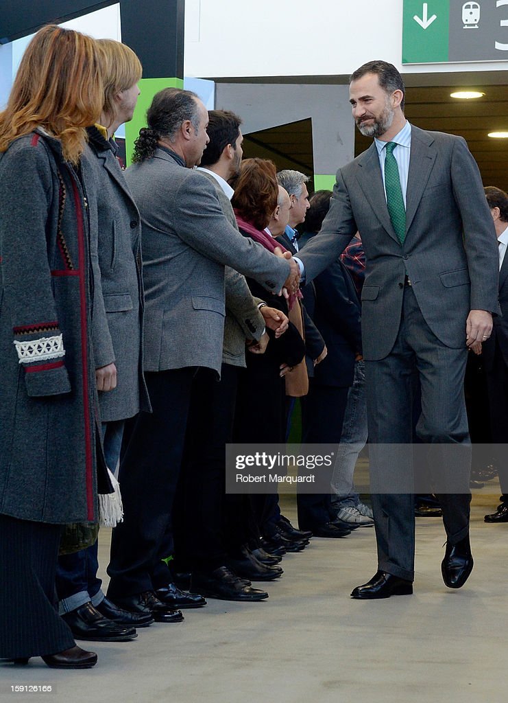Prince Felipe of Spain arrives at the Figueres-Vilafant train station for the inauguration of the AVE high-speed train line between Barcelona and the French border on January 8, 2013 in Barcelona, Spain.
