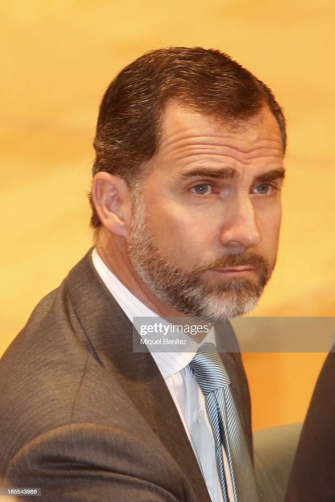 Prince Felipe of Spain attends a ceremony for recently graduated judges at the Auditori on April 4, 2013 in Barcelona, Spain.