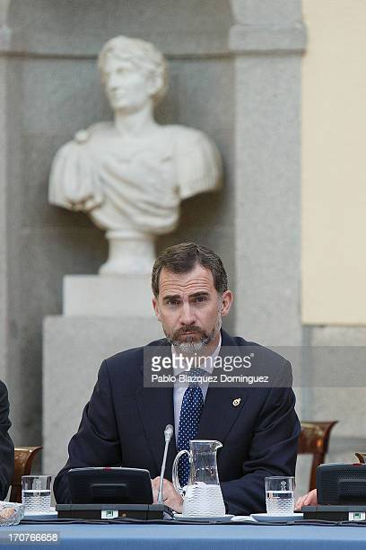 Prince Felipe of Spain attends a meeting with members of the 'Principe de Asturias Foundation' at El Pardo Royal Palace on June 17 2013 in Madrid...