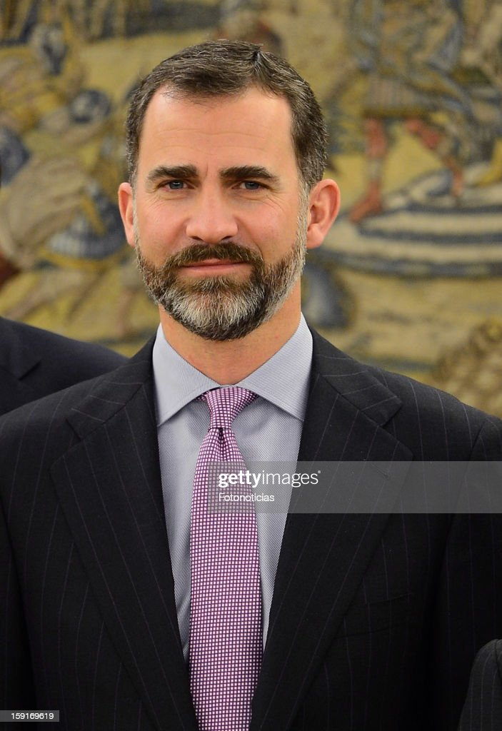 Prince Felipe of Spain attends an audience at Zarzuela Palace on January 9, 2013 in Madrid, Spain.