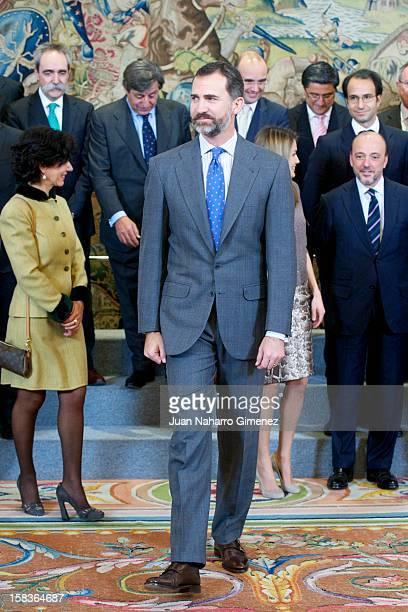 Prince Felipe of Spain attends an audience with Patronato de la Fundacion Conocimiento y Desarrollo at Zarzuela Palace on December 14 2012 in Madrid...