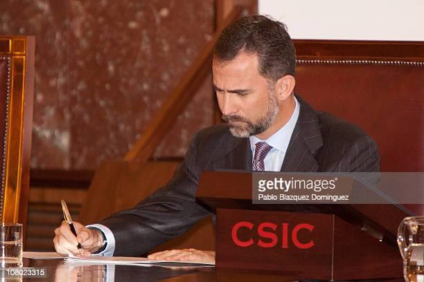 Prince Felipe of Spain attends 'Ciudad de la Ciencia y la Innovacion' Awards at CSIC Central Office on January 13 2011 in Madrid Spain