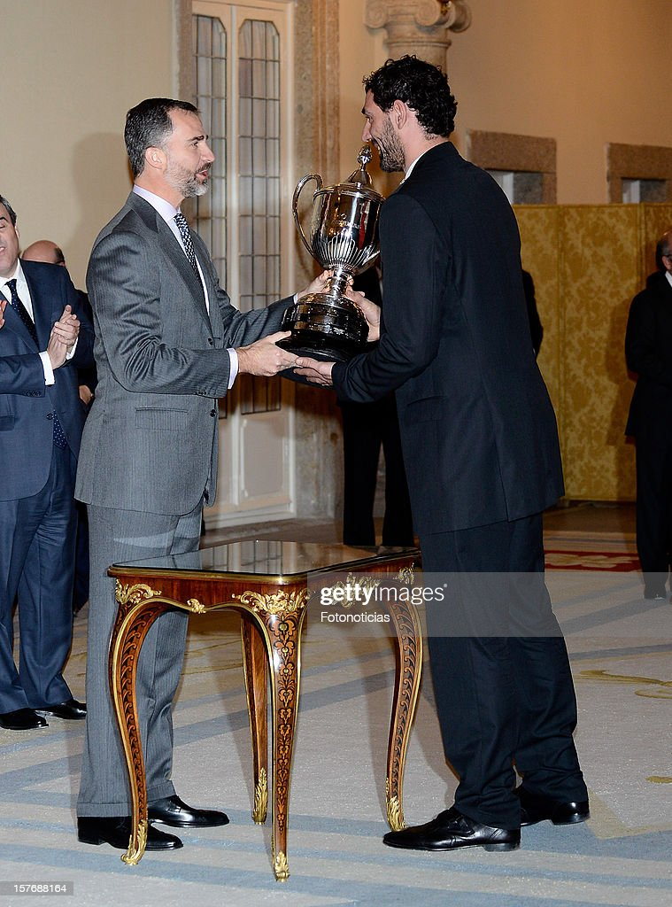 Prince Felipe of Spain (L) attends the National Sports Awards ceremony at El Pardo Palace on December 5, 2012 in Madrid, Spain.