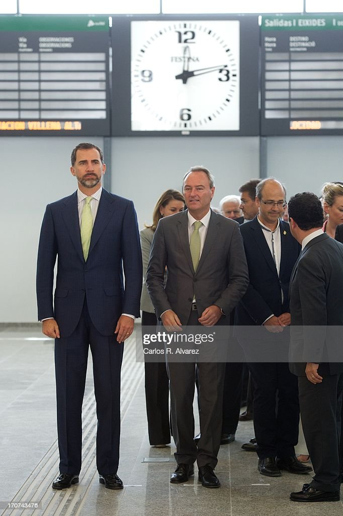Prince Felipe of Spain (L) attends the official inauguration of the new Alta Velocidad Espanola (AVE) high speed Madrid to Alicante rail link at Villena AVE station on June 17, 2013 in Villena, Alicante, Spain.