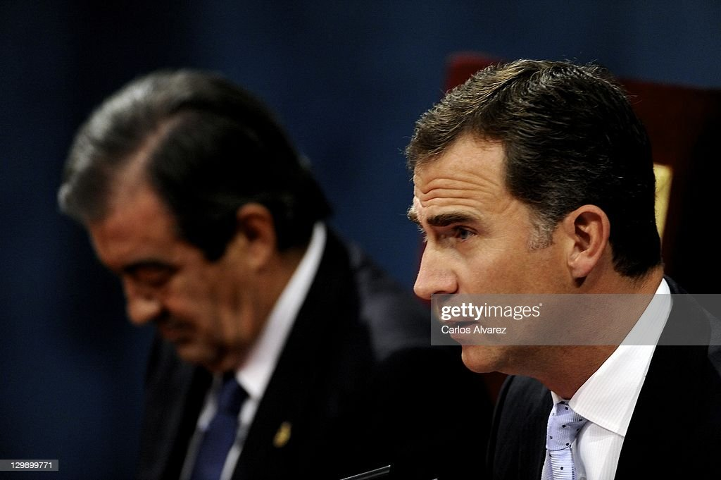 Prince Felipe of Spain (R) attends the 'Prince of Asturias Awards 2011' ceremony at the Campoamor Theater on October 21, 2011 in Oviedo, Spain.
