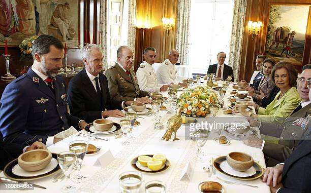 Prince Felipe of Spain defense minister Peter Morenes King Juan Carlos of Spain General Admiral Fernando Garcia Sanchez and Chief of Staff of the...