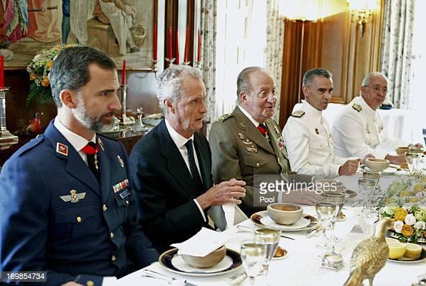 Prince Felipe of Spain defense minister Peter Morenes King Juan Carlos of Spain General Admiral Fernando Garcia Sanchez and Chief of Staff of the...