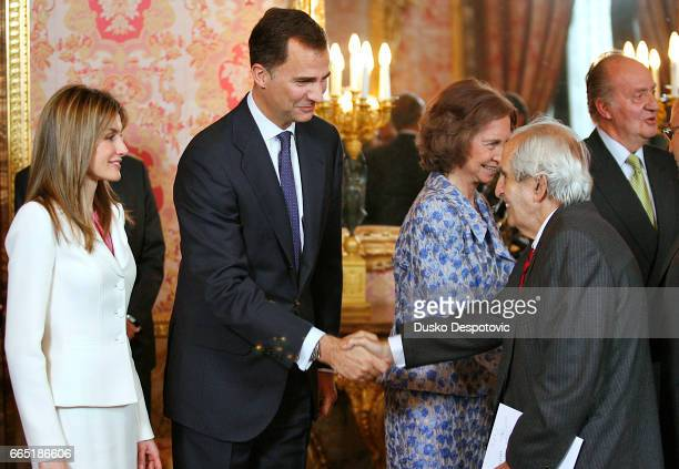 Prince Felipe of Spain greets former Minister of Foreign Affairs Fernando Moran during the ceremony marking the XXV Anniversary of Spanish and...