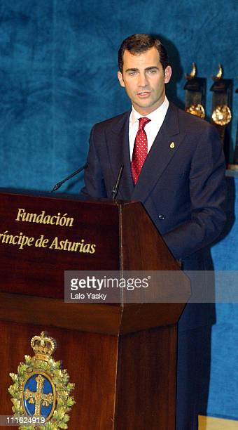 Prince Felipe of Spain hosts the 2002 Prince of Asturias Awards at the Campoamor Theatre in Oviedo Spain