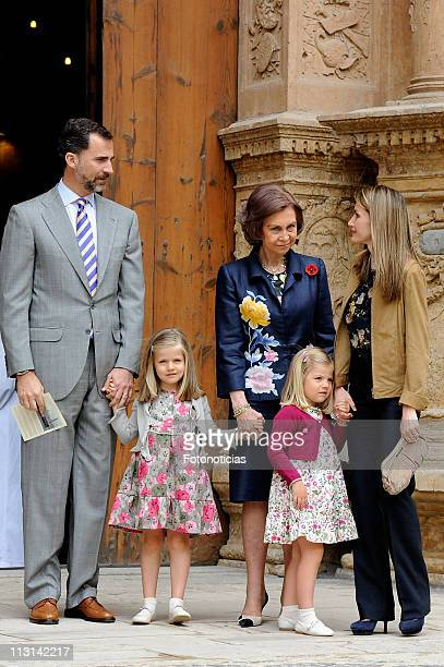 Prince Felipe of Spain Infanta Leonor of Spain Queen Sofia of Spain Infanta Sofia of Spain and Princess Letizia of Spain attend Easter Mass on April...