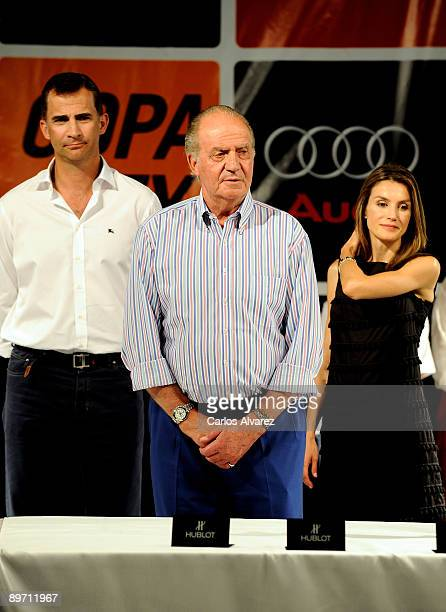 Prince Felipe of Spain King Juan Carlos of Spain and Princess Letizia of Spain attend the 28th Copa del Rey Mapfre Audi Sailing Cup Awards...