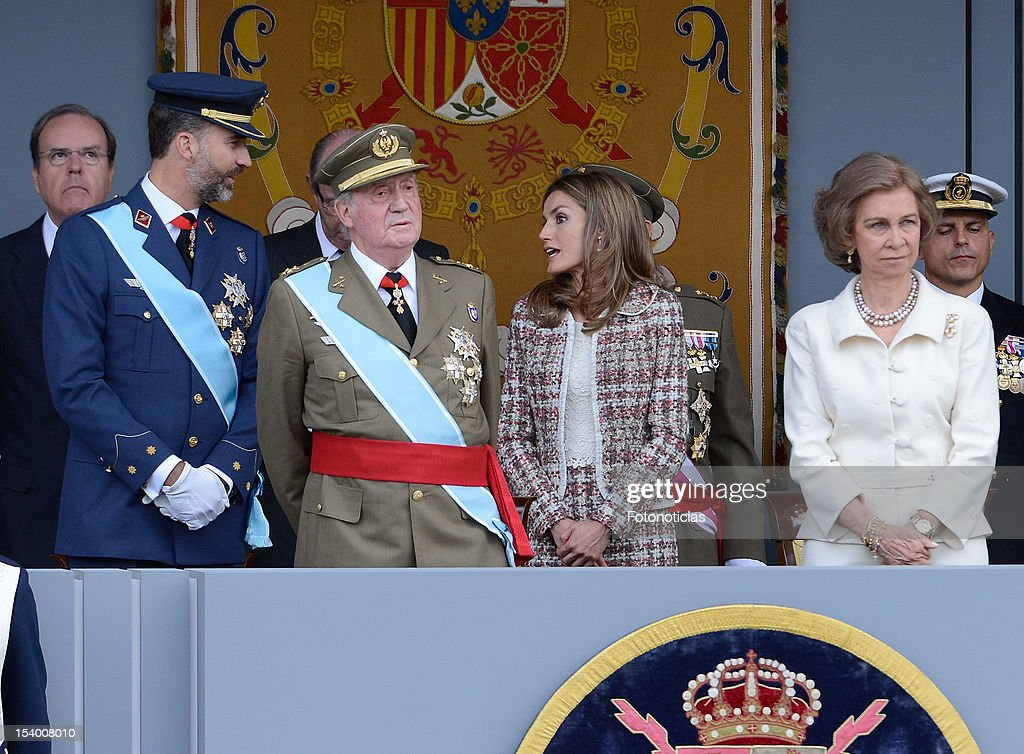 Prince Felipe of Spain, King Juan Carlos of Spain, Princess Letizia of Spain and Queen Sofia of Spain attend the National Day Military Parade on October 12, 2012 in Madrid, Spain.