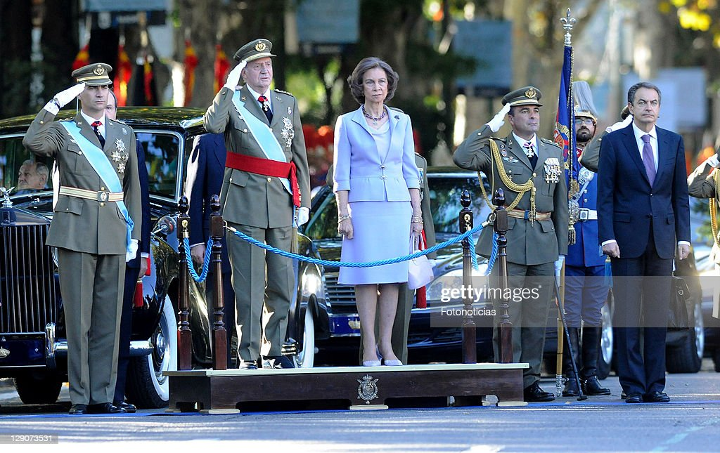 Prince Felipe of Spain, King Juan Carlos of Spain, Queen Sofia of Spain and Prime Minister Jose Luis Rodriguez Zapatero attend The National Day Military Parade on October 12, 2011 in Madrid, Spain.