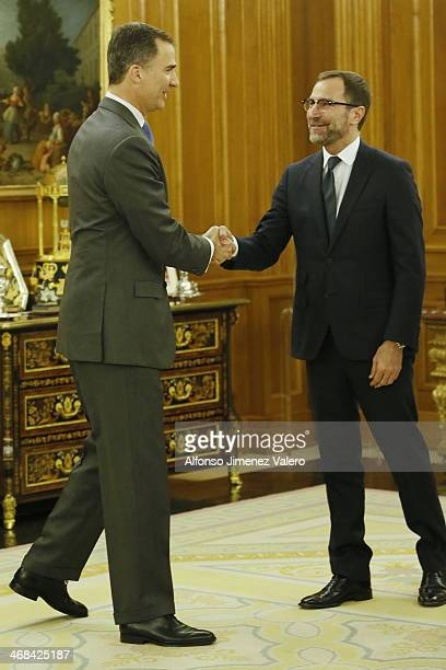 Prince Felipe of Spain Meets Mr. Ray Mabus, Secretary of the Navy of USA, and Mr. James Costos, United States ambassador in Spain at Zarzuela Palace...