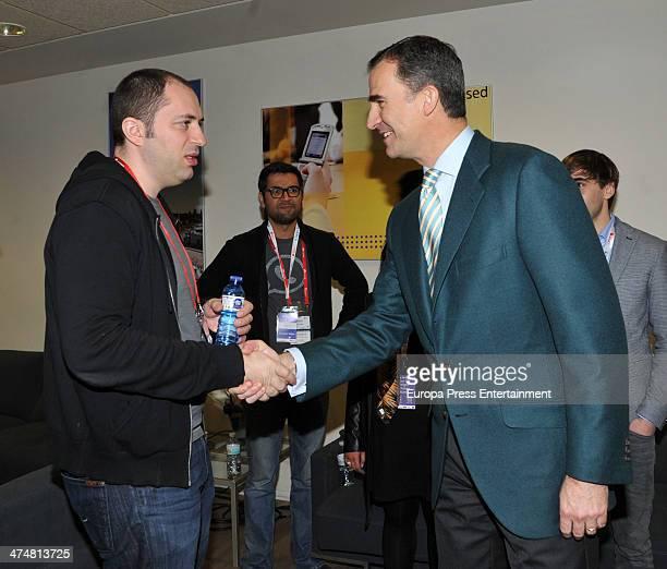Prince Felipe of Spain meets WhatsApp founder Jan Koum during the Mobile World Congress 2014 on February 25, 2014 in Barcelona, Spain.