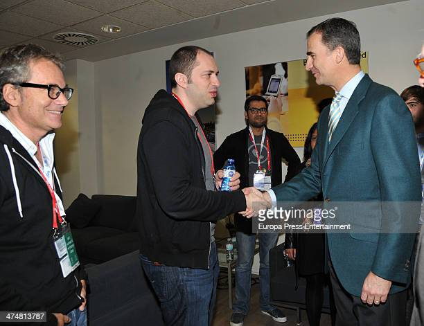 Prince Felipe of Spain meets WhatsApp founder Jan Koum during the Mobile World Congress 2014 on February 25 2014 in Barcelona Spain