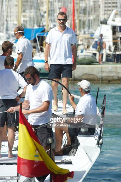Prince Felipe of Spain on board of the 'Aifos' during the 32nd Copa del Rey Mapfre Sailing Cup day 5 on August 2 2013 in Palma de Mallorca Spain