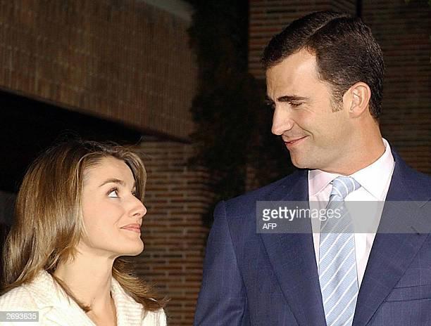 Prince Felipe of Spain poses with his fiancee Spanish journalist Letizia Ortiz at Zarzuela Palace near Madrid 03 November 2003 The engagement...