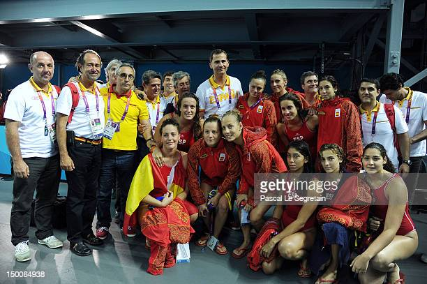 Prince Felipe of Spain poses with the Spainish Water Polo team on Day 13 of the London 2012 Olympic Games at the Water Polo Arena on August 9, 2012...