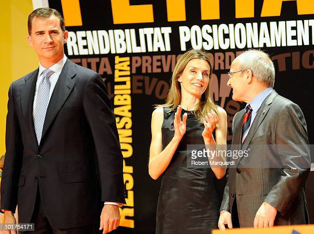 Prince Felipe of Spain Princess Leticia of Spain and President of the Catalan government Jose Montilla attend the 13th annual PIMES awards at the...