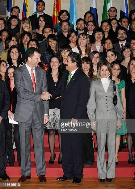 Prince Felipe of Spain Princess Letizia of Spain and Honduras President Manuel Zelaya attend the Salamanca University Grant Ceremony for Latin...
