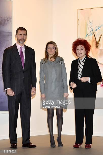 Prince Felipe of Spain Princess Letizia of Spain and Juana de Aizpuru pose for the photographers during the inauguration of ARCO Contemporary Art...