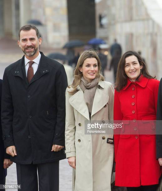Prince Felipe of Spain Princess Letizia of Spain and Minister Angeles Gionzalez Sinde attend the opening of Galicia's Library on January 11 2011 in...