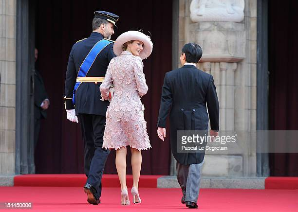 Prince Felipe of Spain Princess Letizia of Spain and Prince Naruhito of Japan attend the wedding ceremony of Prince Guillaume Of Luxembourg and...