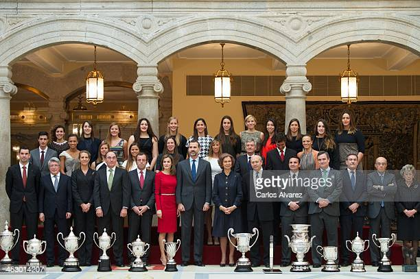 Prince Felipe of Spain Princess Letizia of Spain and Queen Sofia of Spain attend the Spanish National Sports Awards 2013 at the El Pardo Palace on...
